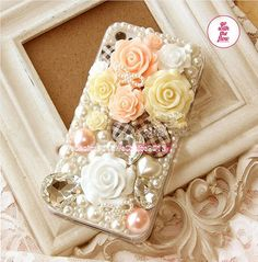 Trend Style Venetian Pearl Polymer Clay Flower Rhinestone DIY Deco Kit Decoden Kit Cabochon Deco Kit For DIY Cell Phone iPhone 4G 4S 5 Case