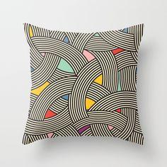 $20.00 Modern Scandinavian Multi Colour Color Curve Graphic Throw Pillow by Season of Victory | Society6 Modern, minimal, geometric, design, print, pattern, AOP, graphic, Scandinavian, mid century, art, deco, curves, stripes, art, vintage, scandi, multi, color, colour