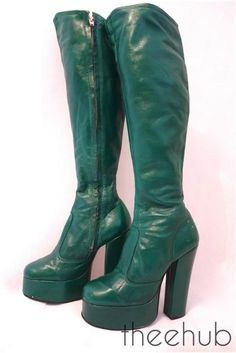 Vtg 1970s Rare Glam Fabulous Funky Fetish Green Knee High Leather Platform Boots