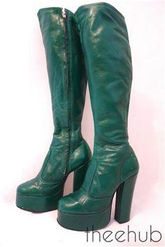 Vtg 1970s Rare Glam Fabulous Funky Fetish Green Knee High Leather Platform Boots