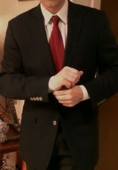 Navy jacket and power tie