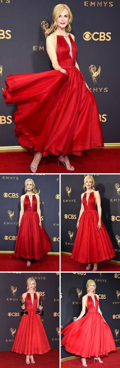 b396b18a0673 Nicole Kidman wearing red tea length gown at Emmys 2017 red carpet  Primetime Emmy Awards 2017