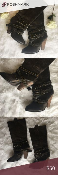Brown Studded Buckle Midi Boots Super rad faux leather brown distressed boots with stacked heel and studded buckle straps across the bottom. There is no brand and I can't remember where I got these (shopaholic problems) but they are in great condition! Size 9 Shoes Heeled Boots