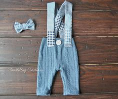 Newborn Photography Pants Upcycled Blue Jean Patchy Suspenders & Bow Tie by ToodleBugCreations, $26.50