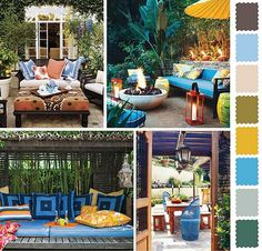 5 Outdoor Home Decorating Color Schemes and Patio Ideas for Summer Decorating-turquoise blue, sunny yellow and green colors theme