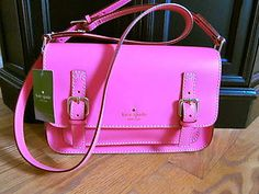 Kate Spade Essex Scout Neon Hot Pink Messenger Crossbody Leather Bag Purse   eBay