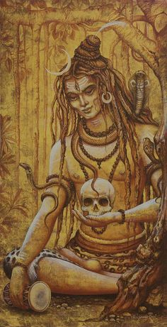 Shiva Print featuring the painting Mahadev. Shiva by Vrindavan Das