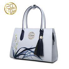 623ed13afa 2017 New Designer Women Handbags Split Leather Embroidery Tassel Purses And  Handbags Light Blue Ladies Tote