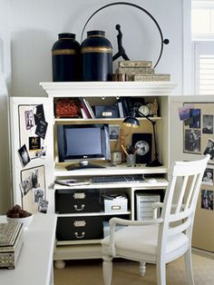 Secret Office  For a functional and easily concealable work space, use an armoire. Pick one specifically designed for computer equipment, or customize a regular armoire with shelves and cubbies to suit your needs. When guests come by, simply close the doors to hide the clutter.