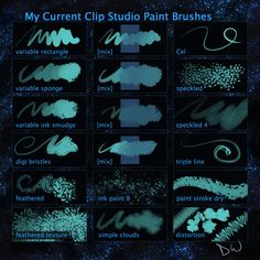 You MAY freely use and modify these brushes and use them for personal and professional work alike. You MAY share brushes you've made using my brushes as. My Current Clip Studio Paint Brushes
