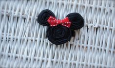 Adorable Fabric Flower Minnie Mouse with a Red or by MadiMosBows, $7.00 www.madimosbows.etsy.com