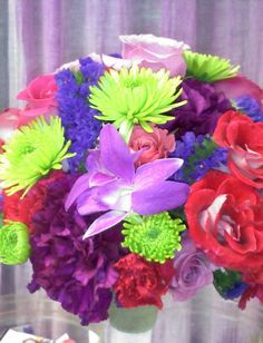 love the colors! Buffalo News, Pink And Green, Purple, Flower Decorations, Big Day, Wedding Flowers, Daisy, Bouquet, Vibrant