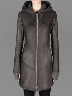 ISAAC SELLAM HOODED LEATHER COAT