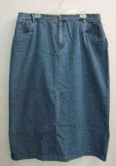 Bridgewater Studio Womens Plus Size 18W Long Modest Denim Jean Skirt #BridgewaterStudio #StraightPencilModesty