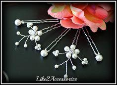 White Ivory Pearl Clip, Bridal Hair Pins, Wedding Hair Accessories, Swarovski Pearl Wedding Hair Pin Set of 5 Hair Pin, Floral Vine Hair Pin...