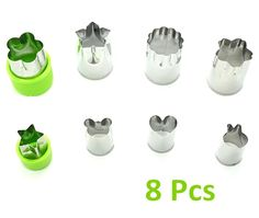 YEME 8 Pcs Food Grade Stainless Steel Vegetable Fruit Biscuit Cutter Mold Tool with Flower and Cartoon Shape-Green * Remarkable product available  : Baking Accessories