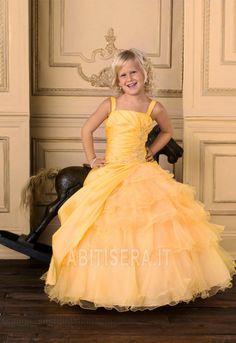 Abito da ragazza di fiore Taffeta Ball Gown Champagne Allacciato
