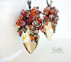 Multi Gemstone Chandelier Earrings Pink Sapphire Citrine Gold Crystal Orange Carnelian Saltwater Pearls Sunstone Oxidized Silver Kande
