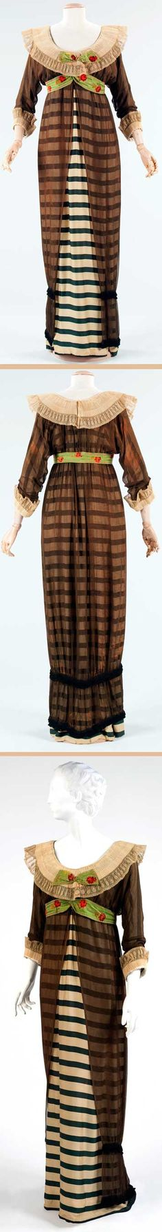 "Evening dress, Poiret, 1910. Silk and linen. One of Poiret's early designs. ""His combination of historical recreation, as seen in the pleated collar, alongside the modern, such as the graphic bold horizontal stripes in the textile, began the freedom in clothing that is synonymous with the emancipation of women."" Metropolitan Museum of Art"