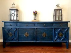 Annie Sloan Napoleonic Blue with Clear and Dark Wax. Buffet, Dresser, or Console. Created by The GracieBel Shop. www.facebook.com/thegraciebelshop