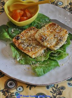 The beloved Cypriot Halloumi Cheese is ideal as a light Saganaki because it is very easy to grill, keeps its shape & has a rubbery texture anyway. Its taste matches with a preserve/spoon sweet, as beautifully as it matches w/ honey. #halloumi_saganaki #cypriot_halloumi #halloumicheese #χαλούμι_σαγανάκι #therecipeoftheday #syntaghthshmeras #keepcooking #greece #greek #greekrecipes #delicious #greekcookingmadeeasy #greekyoutuber #greekblogger #likemygrandma #ελληνικηκουζινα #mediterraneanstyle Grilled Halloumi, Greek Cooking, Mediterranean Style, Savoury Dishes, Greek Recipes, Salmon Burgers, Allrecipes, Make It Simple, Grilling