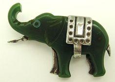 CHROME CARVED GREEN BAKELITE ELEPHANT PIN