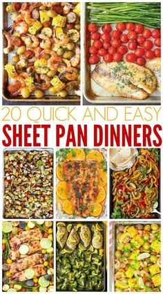 Have you heard of Sheet Pan Dinners? They are the new rage and for good reason! Here are 20 Easy Sheet Pan Dinners that I know you will love! meals for new moms Easy Sheet Pan Dinners Healthy Dinner Recipes For Weight Loss, Recipes Dinner, Easy Healthy Meal Prep, Healthy Meals For One, Healthy Kid Friendly Dinners, Clean Eating Dinner Recipes, Diabetic Recipes For Dinner, Healthy Freezer Meals, Fast Meals