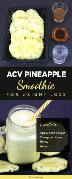 Apple Cider Vinegar – Pineapple Smoothie for Weight Loss Being overweight will cause many health and beauty problems. So, everyone wants to stay fit and healthy. Smoothies are the best option to Smoothie Legume, Smoothies Vegan, Juice Smoothie, Smoothie Drinks, Detox Drinks, Healthy Drinks, Smoothie Recipes, Healthy Snacks, Nutribullet Recipes