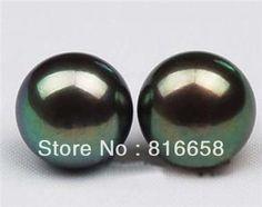 Free shipping@@10-11mm Tahitian Black Shell Pearl Earring AAA Grade
