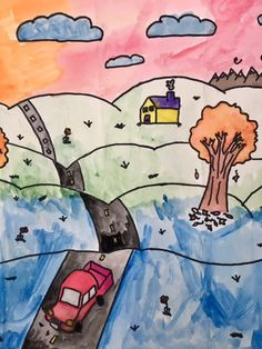 The 6th Grade Landscape- terms/concepts: atmospheric perspective-foreground-middle ground-background-overlap-color mixing