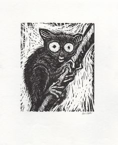 This linocut animal is a great use of the style because it's dramatic, and it helps to show the fur.