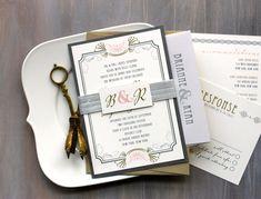 "Art Deco Wedding Invitations, Modern Gold and Silver Wedding Invitations, Old Hollywood Wedding, Gold Invitations - ""Art Deco Love"" Sample"