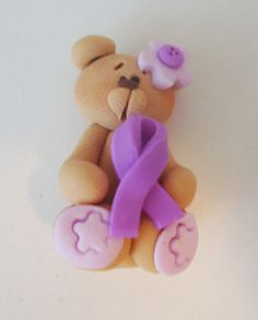 Bear with Purple Ribbon  Polymer Clay Charm Bead, Scrapbooking, Bow Center, Pendant, Cupcake topper, Magnet, Ring. $1.50, via Etsy.
