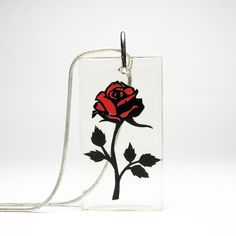 Rose Resin Papercut Pendant • Beauty and the Beast Fairytale Necklace • Paper Cut Jewellery • Fairy Tale Gift Clear Resin, White Gift Boxes, Red Riding Hood, Beauty And The Beast, Paper Cutting, Fairytale, Silver Plate, Bubbles, Pendants