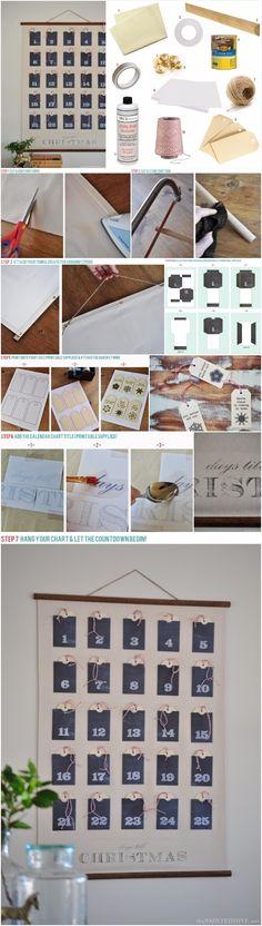 Christmas Advent Calendar Wall Chart (full tutorial with free prin ... | DIY Fun Tips