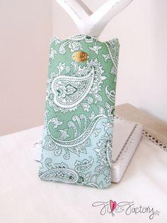 Etui à lunettes ♔ Couronne ♔ coton vert motif cachemire paisley : Etuis, mini sacs par fillesfactory