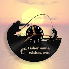 Fishing Fisher Wall Clock Personalized Wooden Clock