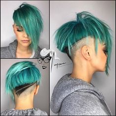 Love the cut. Love the colour. Love this whole look. #hairart #hairstyles #turquoise #beauty