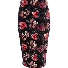 Rose #Print Velvet Pencil Skirt