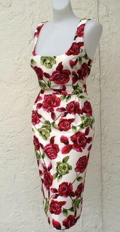 The WIGGLE GODDESS Retro 50s 60s Silk Cream Roses Pencil Frock Dress