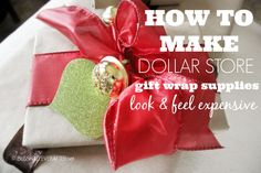 Christmas Gift Wrapping with Dollar Store Supplies - Blissfully Ever After  http://www.blissfullyeverafter.net/2013/12/21/christmas-gift-wrapping-dollar-store-supplies/