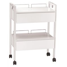 Heavy Duty & Stable This heavy-duty Equipment Cart with Drawers is sturdy enough to hold all of your spa or salon equipment. Made of wood, it has 2 easy-to-open drawers and two shelves, which are laminated with an attractive polished white finish. Its sturdy legs and side arms are white and made of metal. Each arm has a holder that accommodates a mag lamp, and the shelves have two metal retaining rods at the rear of the shelf to keep objects from sliding off the back. 4 rolling casters for…