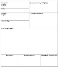 FREE Amazing Lesson Plan Template Printables Lesson Plan - High school lesson plan template