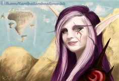 Karoinna Nightrunner :) Self-portrait as a Night Elf rogue ; Night Elf, Rogues, My Arts, Princess Zelda, Deviantart, Portrait, Artist, Fictional Characters, Inspiration