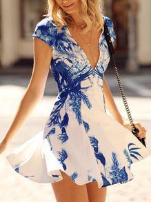 White Cap Sleeve V Neck Floral Print Dress US$15.99