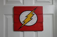 DC Comics The Flash sign hand painted on wood.