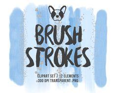Blue Brush Strokes Clipart, Glitter Clipart, Brush Clipart, Watercolor Brush, Confetti Clipart, Scrapbooking Clipart, Design Supplies
