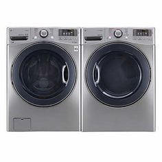 Lg 2 Piece Graphite Steel Laundry Suite 5 Cu Ft Washer And 7 4
