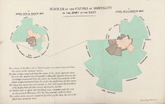 data visualisation - Diagram of Causes of Mortality - 'coxcomb' or rose diagram - Notes on Matters Affecting the Health, Efficiency, and Hospital Administration of the British Army - Florence Nightingale - 1858 Edward Tufte, Wellcome Collection, Crimean War, Florence Nightingale, Web Design Trends, Design Ideas, Data Visualization, Months In A Year, Nursing