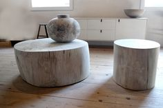 bleached stump stools/side table.